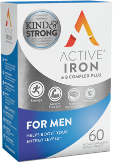 Active Iron and B vitamin complex plus for men - best multivitamin with iron and high dose B vitmains for men who exercise